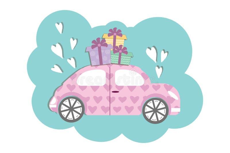 Voiture mignonne de style de Volkswagen Coccinelle avec des boxses de cadeau illustration libre de droits
