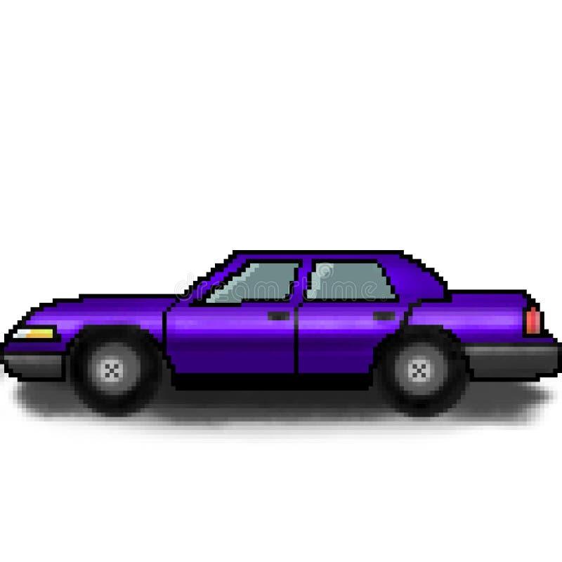 Voiture multicolore de passager tiré de bit du pixel 8 illustration stock