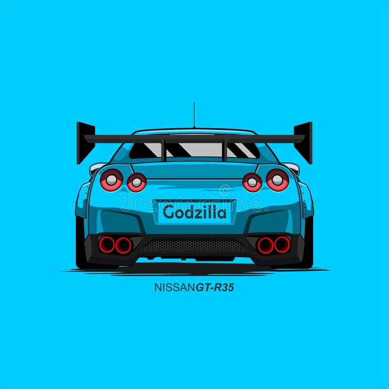 Voiture nissan r35 gtr de bande dessinée illustration stock