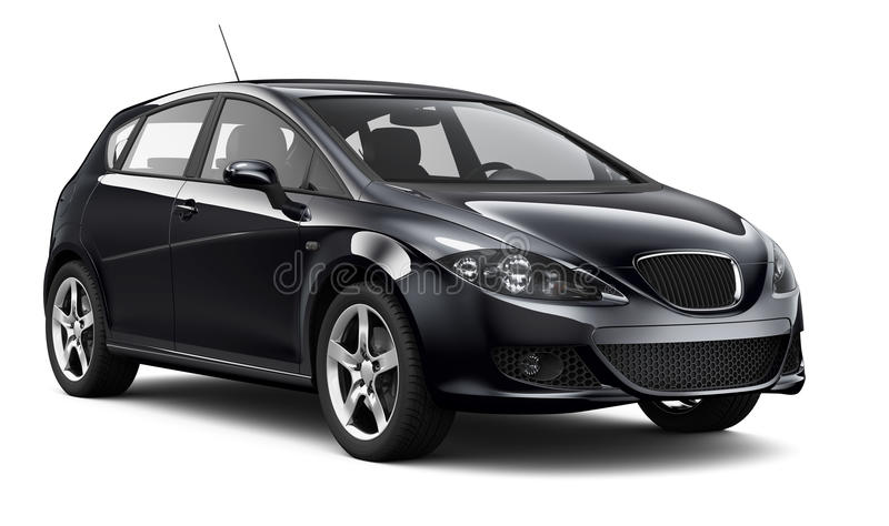 voiture noire compacte sur le fond blanc illustration stock image 53221646. Black Bedroom Furniture Sets. Home Design Ideas