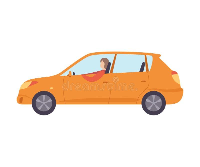 Voiture orange avec le conducteur masculin, illustration de vecteur de vue de côté illustration libre de droits