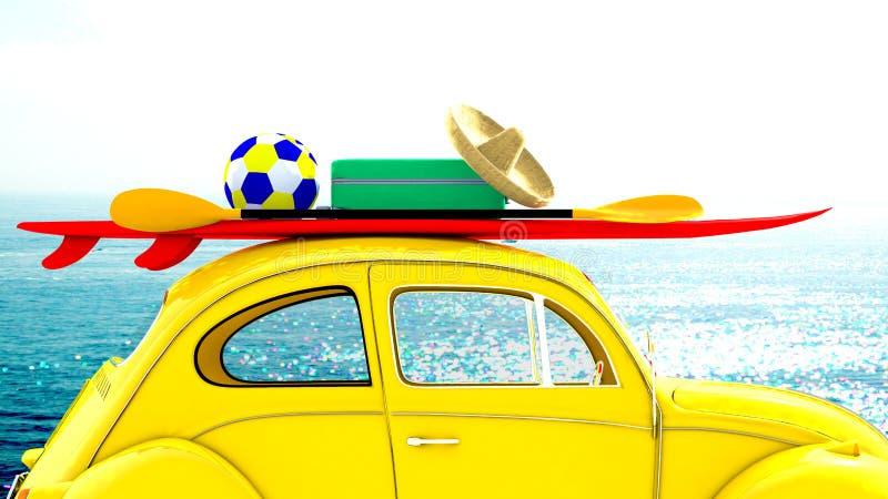 Voiture partant en vacances avec des équipements de sport de plage sur le toit illustration stock