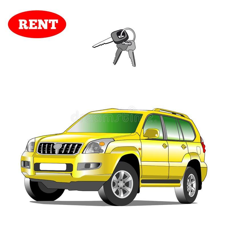 Voiture pour le loyer avec la clé de voiture Illustration d'isolement image libre de droits