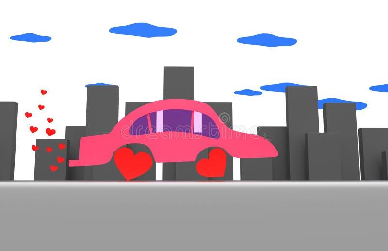 Voiture rose dans une ville grise illustration de vecteur