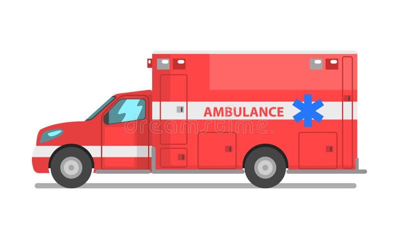 Voiture rouge d'ambulance, illustration de vecteur de véhicule de service médical de secours sur un fond blanc illustration stock