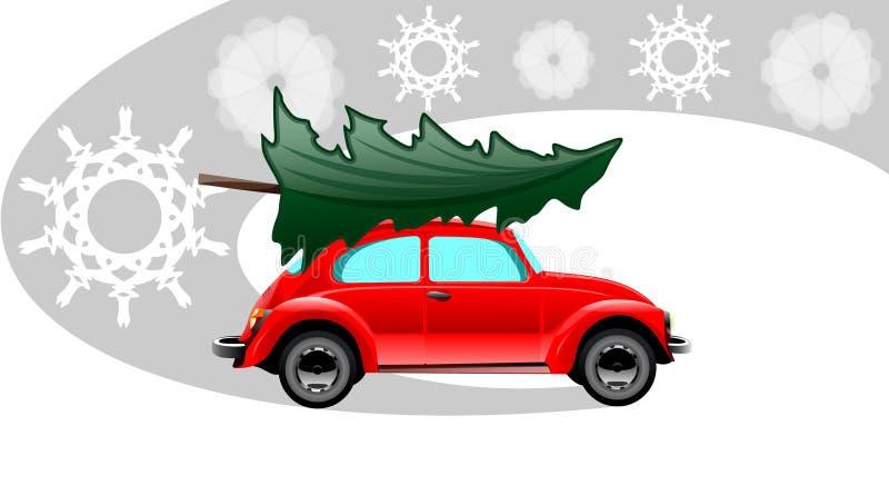 Voiture rouge de Noël illustration de vecteur