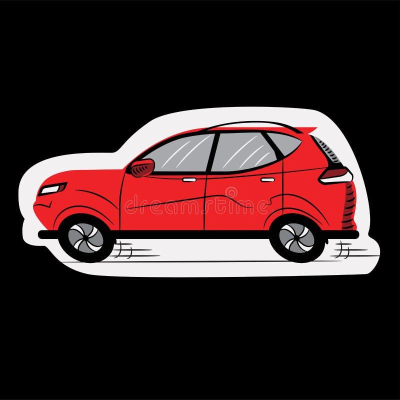 Voiture rouge graphisme croquis Symbole signe Illustration courante de vecteur transparent D'isolement collant illustration stock