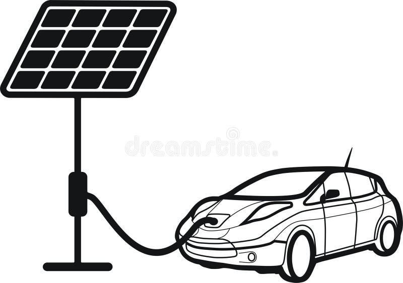 Voiture solaire, chargeur de voiture images stock