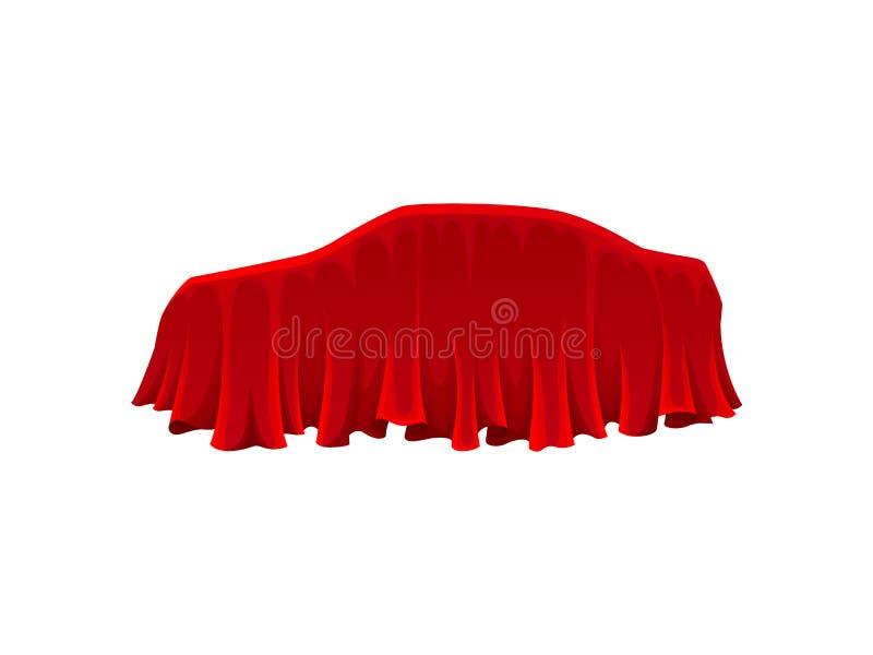 Voiture sous le tissu en soie rouge Concept de présentation illustration libre de droits