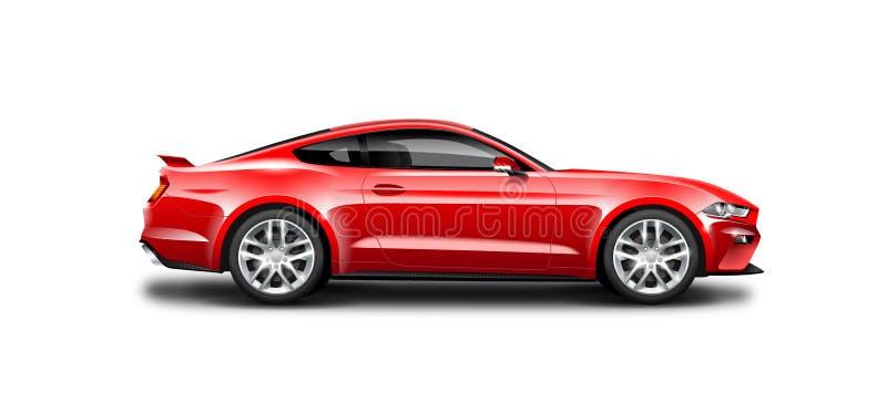 Voiture sportive de coupé rouge sur le fond blanc Vue de côté avec le chemin d'isolement illustration de vecteur