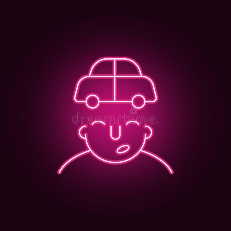 voiture sur l'icône d'esprit Éléments de ce qui est dans votre esprit dans les icônes au néon de style E illustration libre de droits