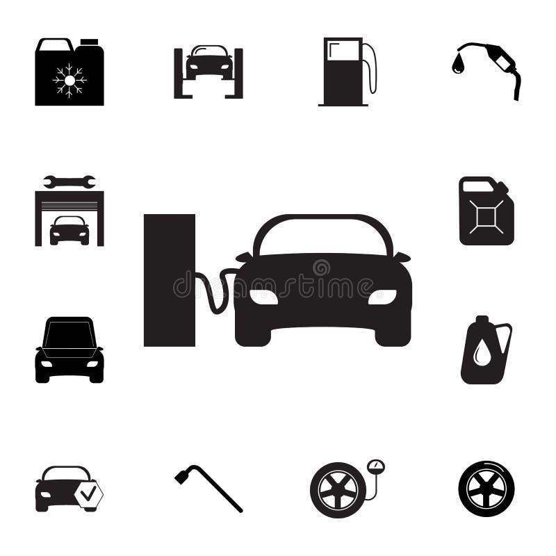 Voiture sur l'icône de station service Ensemble d'icônes de réparation de voiture Signes, collection d'eco d'ensemble, icônes sim illustration de vecteur