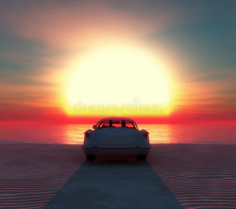 voiture sur la plage avec un couple image stock