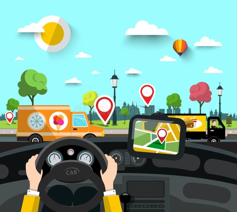 Voiture sur la rue avec des goupilles de navigation de GPS sur la carte de ville illustration stock