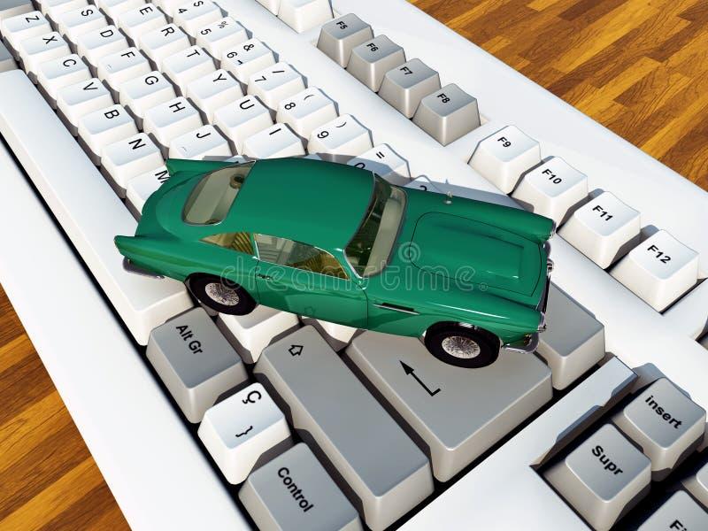 Voiture sur le clavier d'ordinateur illustration de vecteur