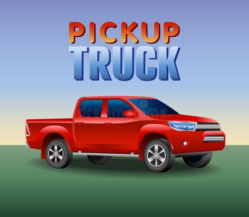 Voiture tous terrains de camion de picup Image d'un camion pick-up rouge dans un style réaliste Illustration de vecteur illustration libre de droits