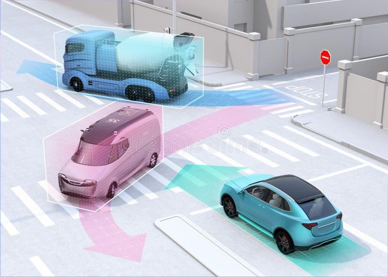 Voitures autonomes partageant le ` s de voiture conduisant l'information sur la route illustration de vecteur