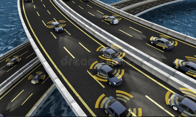Voitures autonomes sur une route avec la connexion évidente illustration stock