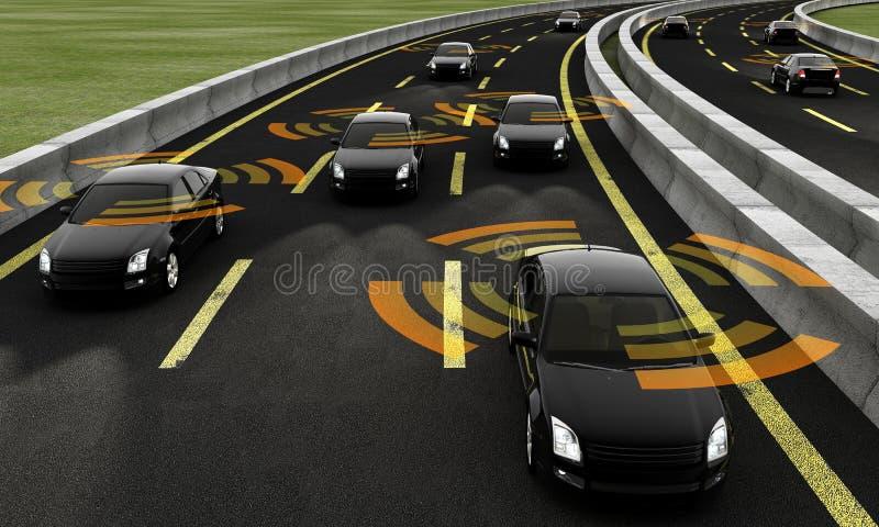 Voitures autonomes sur une route, rendu 3d illustration stock