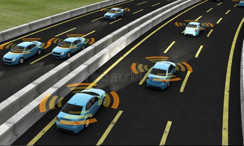 Voitures autonomes sur une route, rendu 3d illustration libre de droits