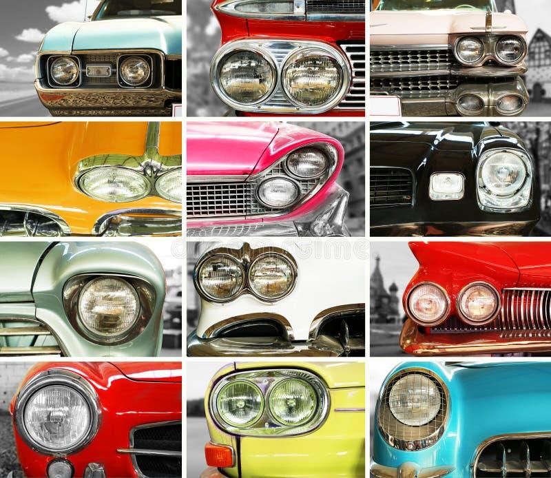 Voitures classiques, rétro collage d'automobile photographie stock