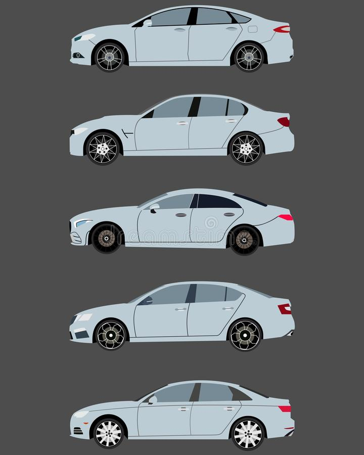 voitures 2017 de berline dans la conception plate illustration libre de droits