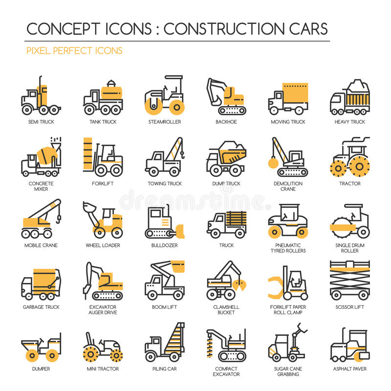 Voitures de construction, icônes parfaites de pixel illustration de vecteur