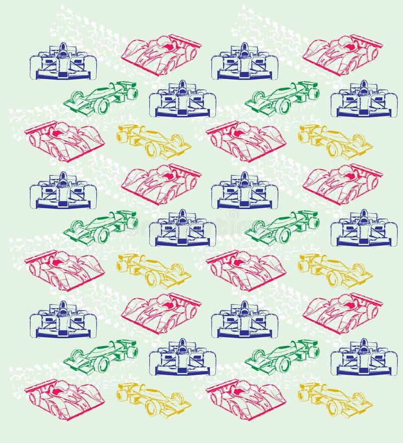Voitures de course bleues, jaunes, vertes et rouges, illustration de vecteur illustration de vecteur