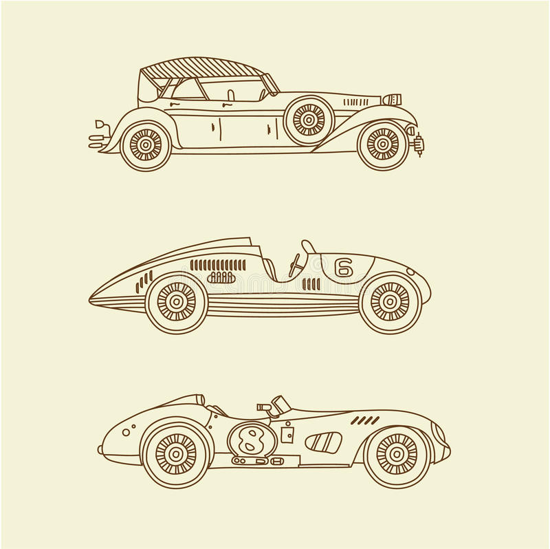 Voitures de course de sport de vintage de vecteur illustration de vecteur