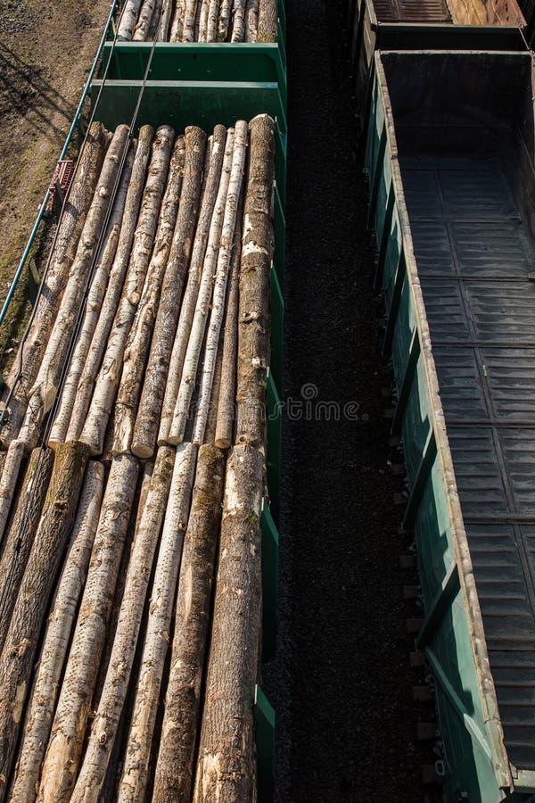 Voitures de fret ferroviaires transporter des arbres et des rondins Notation et transport de bois de construction photo libre de droits