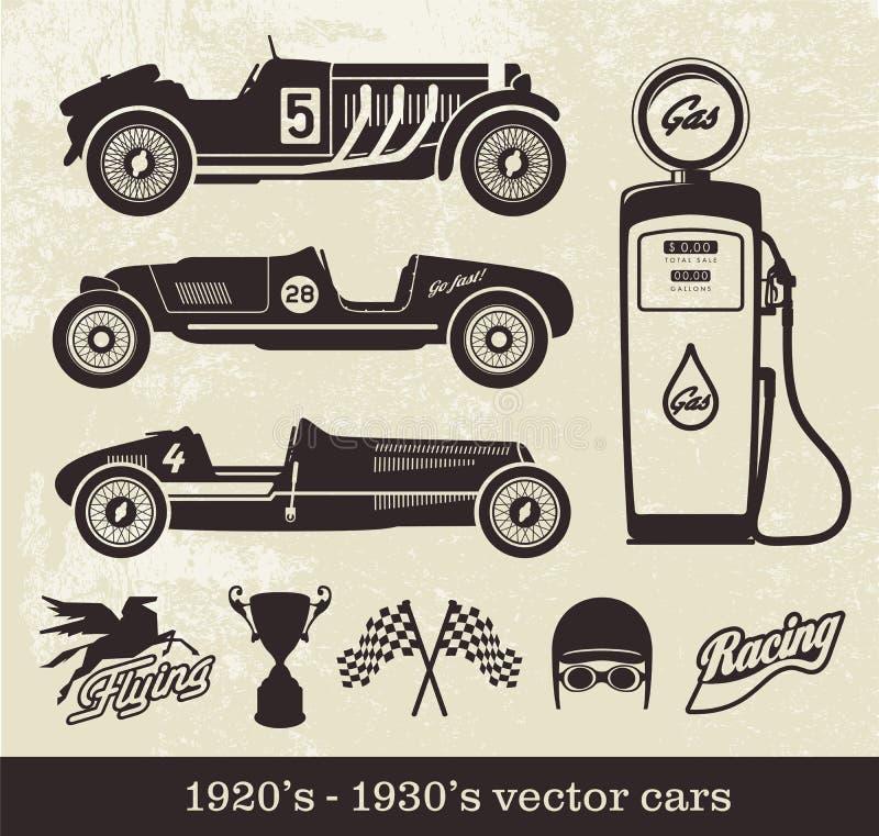 Voitures de style de vintage de vecteur illustration de vecteur