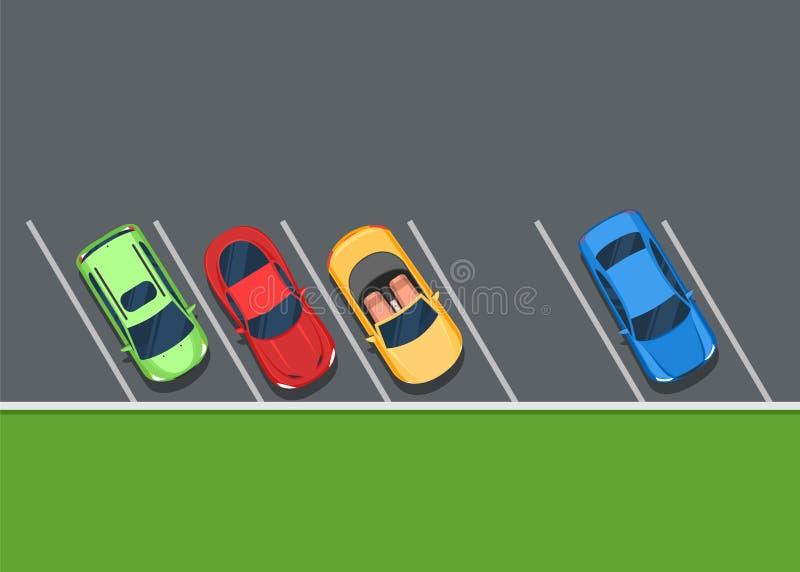 Voitures garées colorées sur le stationnement illustration stock