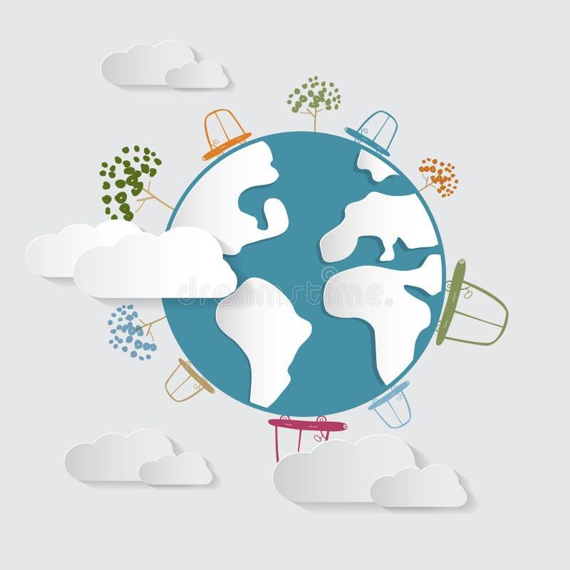 Voitures, nuages, arbres, sur terre, globe illustration de vecteur