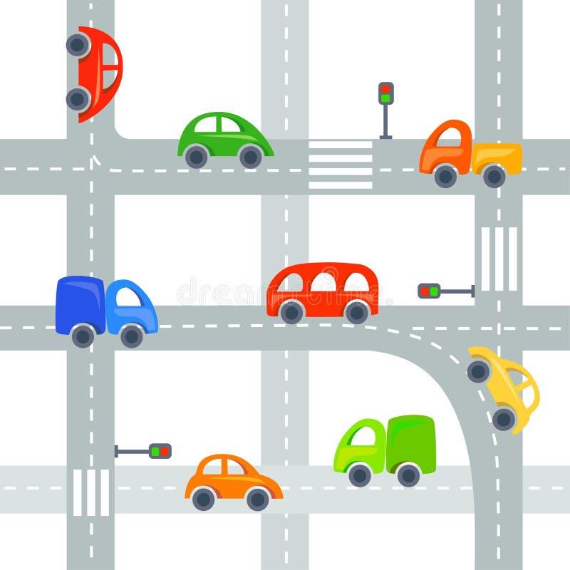 Voitures plates et routes fond, sans couture illustration de vecteur