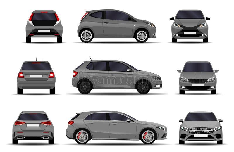 Voitures réalistes réglées hatchback illustration stock