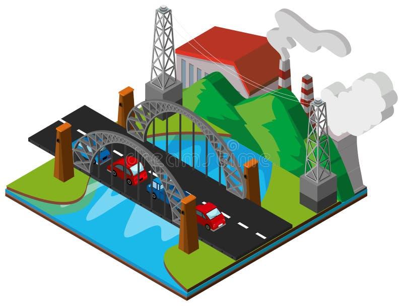 Voitures sur le pont dans la conception 3D illustration libre de droits