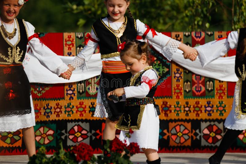 Vojvodina, Serbia- June 16, 2019: Smallest kid on the parade in traditional outfit stock photos