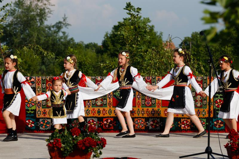 Vojvodina, Serbia, Kids with traditional costumes on a parade stock photos