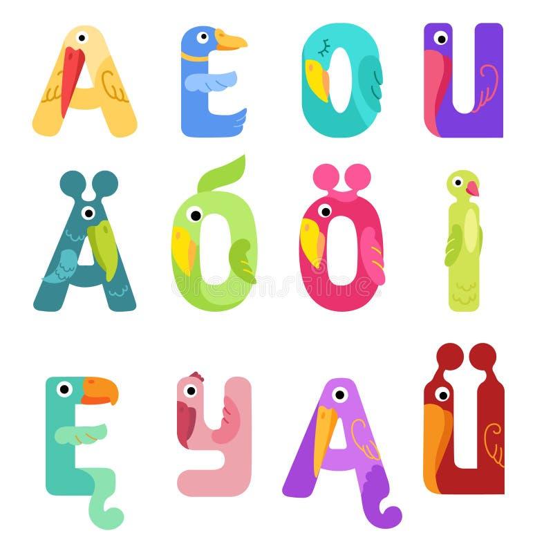 Vokal des lateinischen Alphabetes mögen verschiedene Vögel vektor abbildung