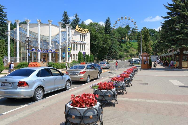 Vokzalnaya街道的看法在Kislovodsk 免版税库存图片