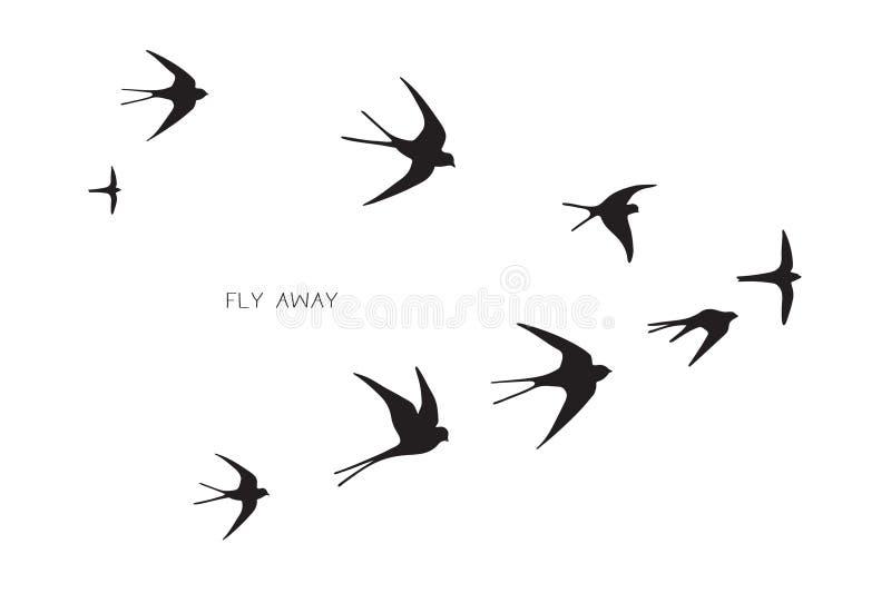 Volée d'hirondelle de silhouette d'oiseaux illustration libre de droits