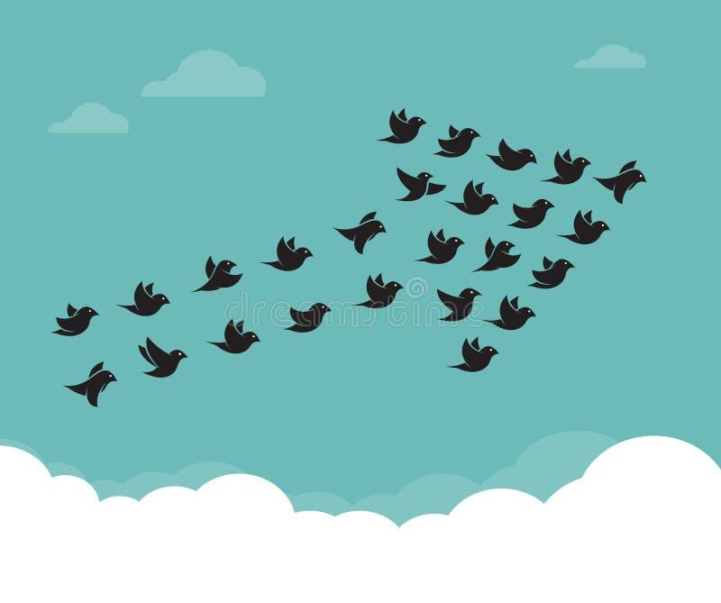 Volée des oiseaux volant dans le ciel dans une flèche illustration de vecteur