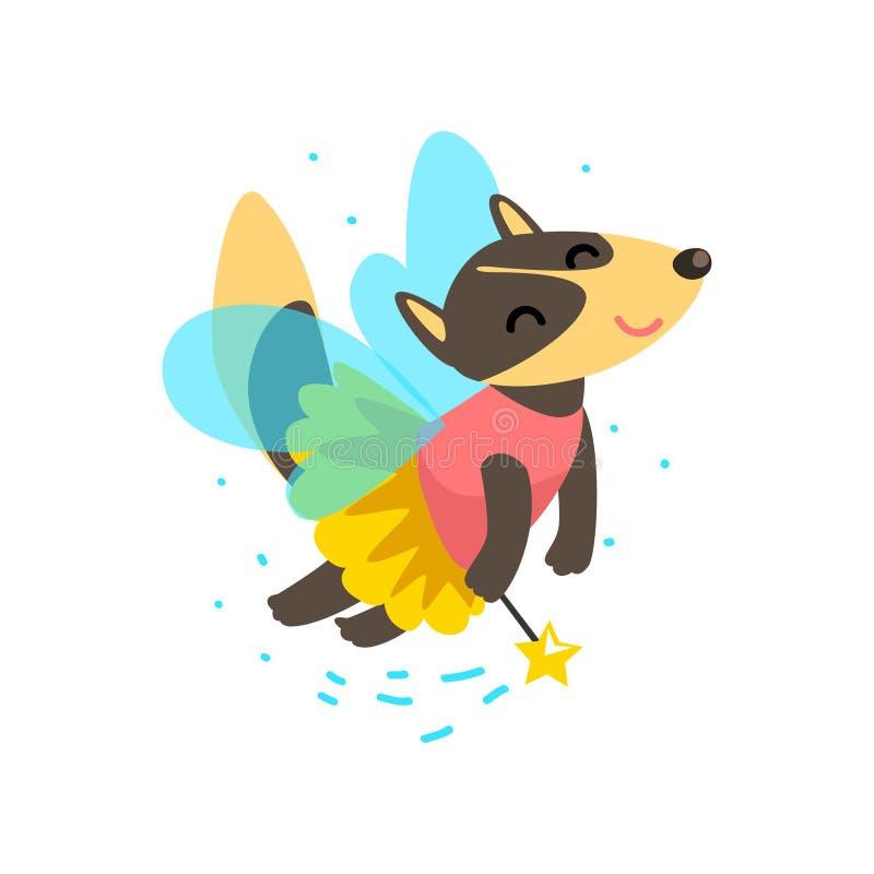 Vol à ailes mignon de loup avec une baguette magique magique, illustration animale de vecteur de personnage de dessin animé de co illustration libre de droits