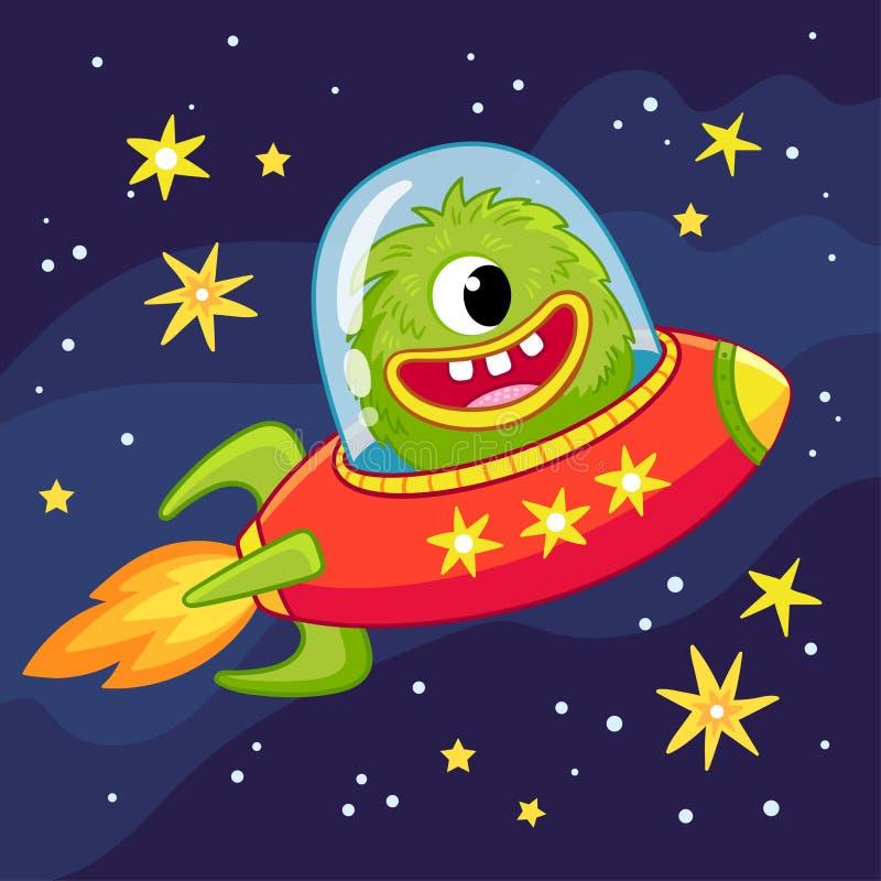 Vol étranger de monstre dans un vaisseau spatial Illustration de vecteur dans le style de bande dessinée sur le thème de l'espace illustration stock