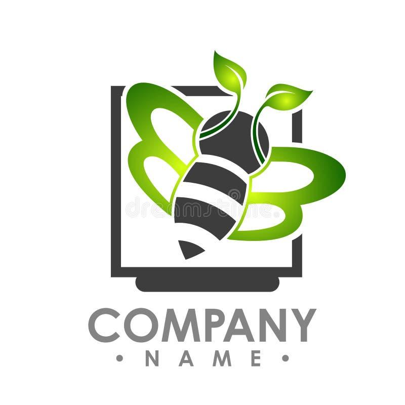 Vol abstrait d'abeille de logo avec l'aile verte de feuille à l'intérieur du shap d'aquare illustration libre de droits