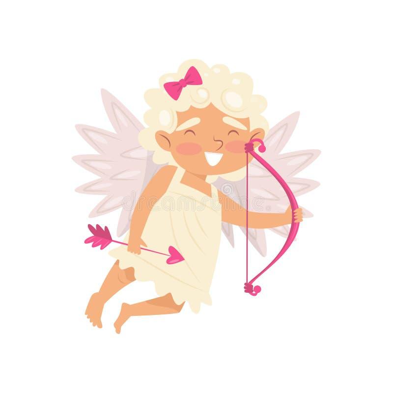 Vol adorable de cupidon avec le tir à l'arc rose Peu d'ange de l'amour Bébé de sourire avec des ailes Conception plate de vecteur illustration libre de droits