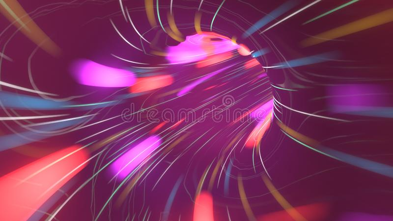 Vol au-dessus de tunnel de lampe au néon Voyage dans l'espace du sci fi de trou de ver de cyberespace 3d rendent la conception de illustration libre de droits
