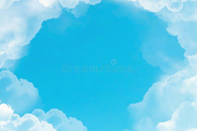 Vol au-dessus des nuages blancs sous le fond de ciel bleu photo libre de droits