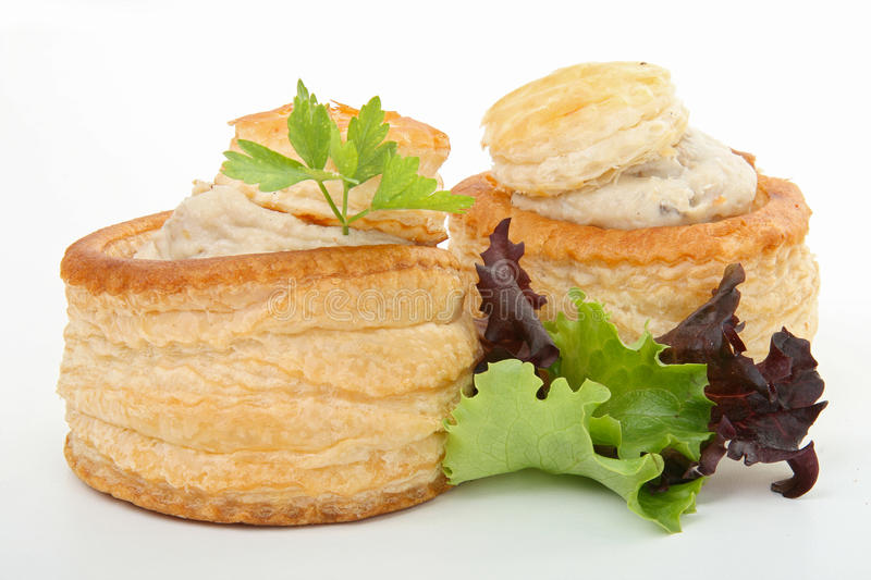 Vol au vent. Two vol au vent isolated on white background stock image