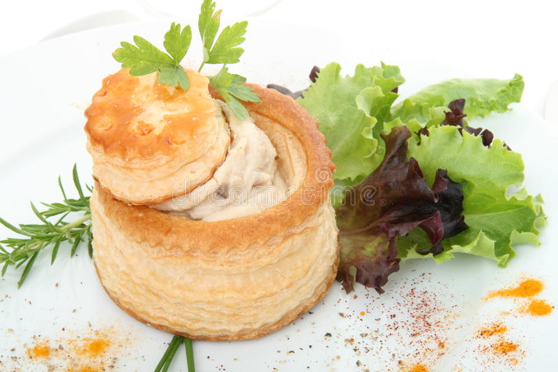 Vol au vent. In a white plate royalty free stock photos